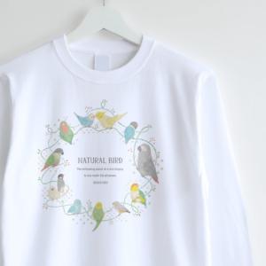 長袖Tシャツ インコとオウムデザインイラスト