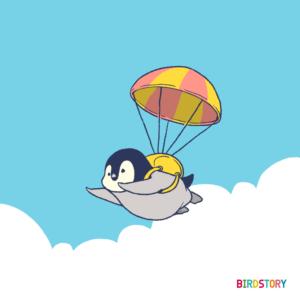コウテイペンギン エンペラーパラシュートで飛ぶイラスト 青空