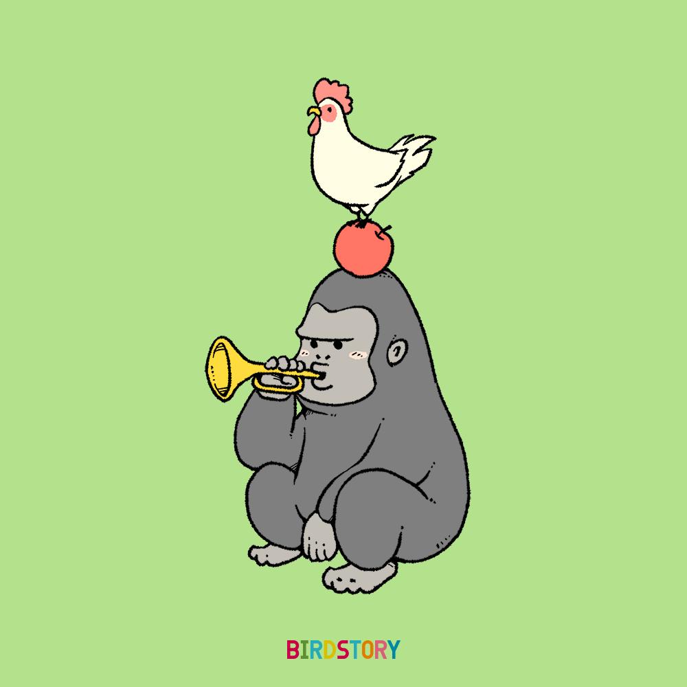 いいリンゴの日 にわとり リンゴ ゴリラ ラッパ しりとり