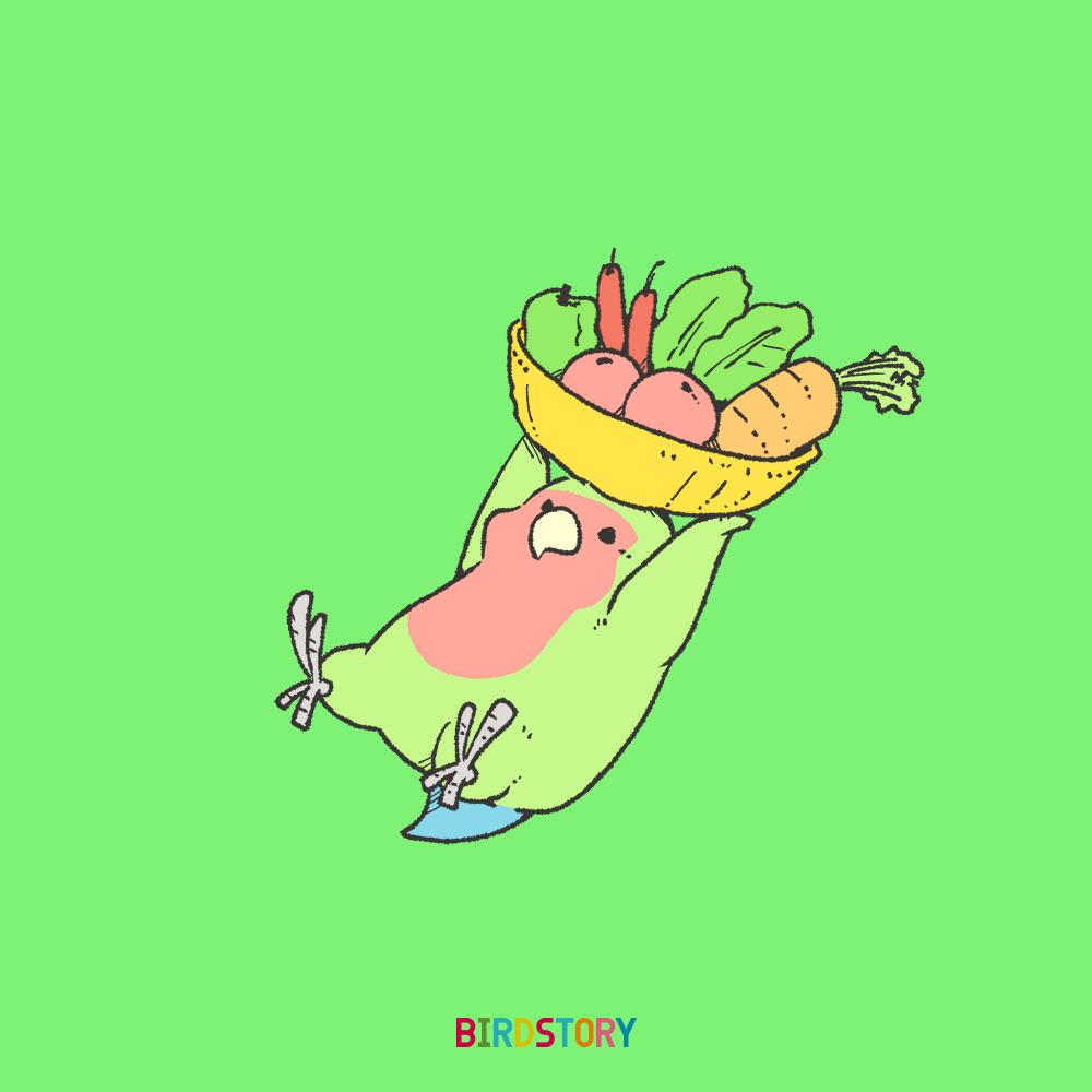 農協記念日コザクラインコが野菜をたくさん抱えたイラスト BIRDSTORY