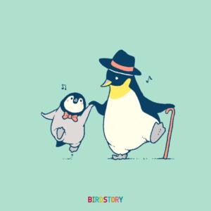 世界こどもの日コウテイペンギン親子のイラスト