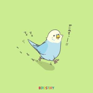 いい笑顔の日 テクテク歩くセキセイインコのイラスト