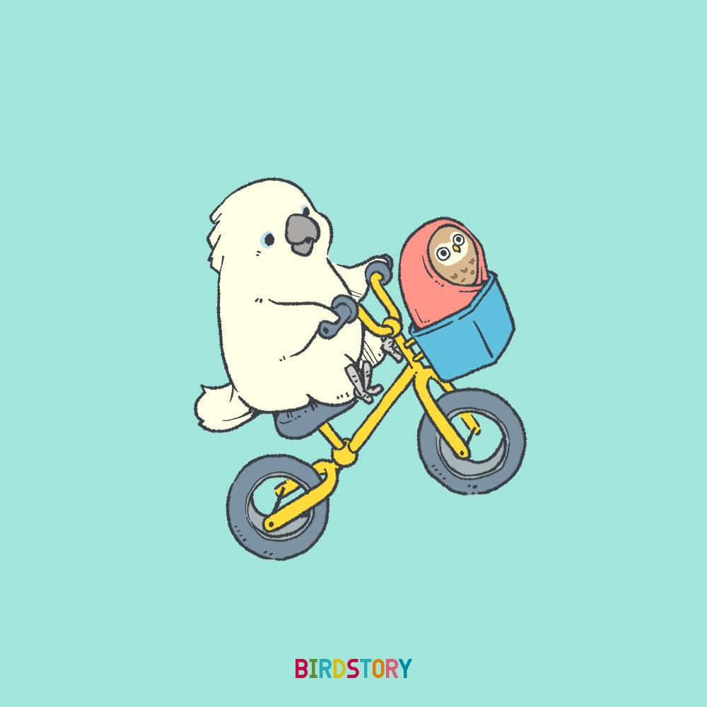 映画E.T.の日 タイハクオウムとコキンメフクロウと自転車