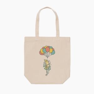 風船ふわふわイラストの鳥さんモチーフトートバッグ