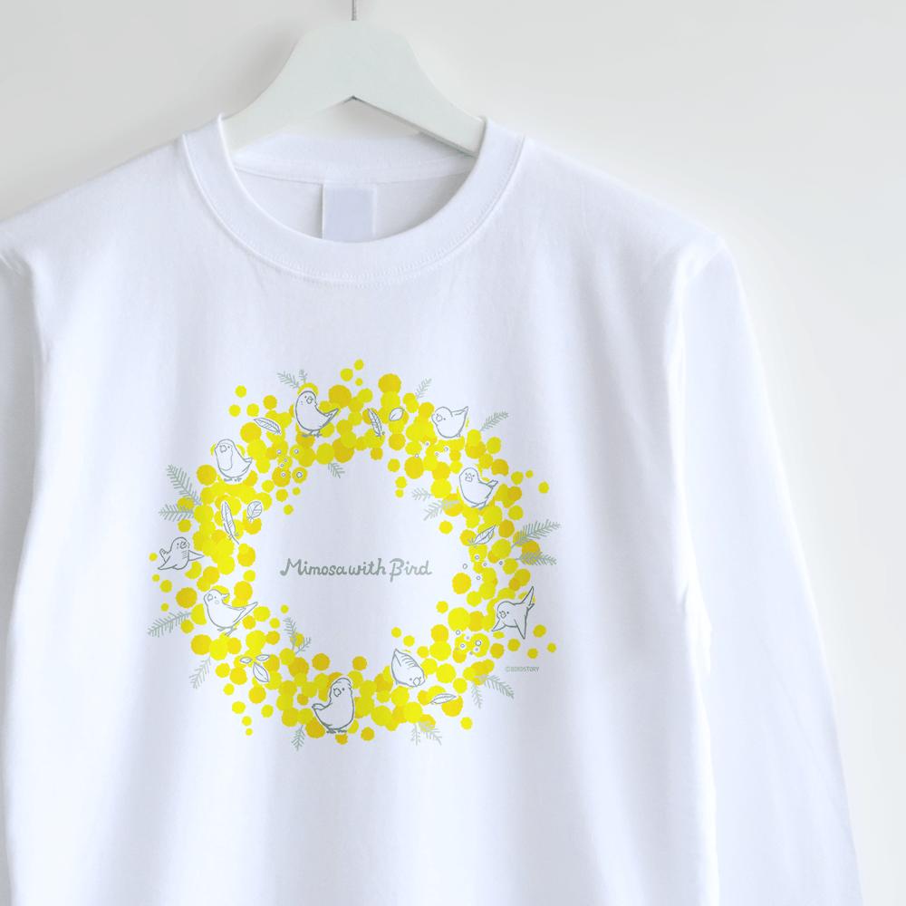 ミモザ ことり お花イラストの長袖Tシャツ