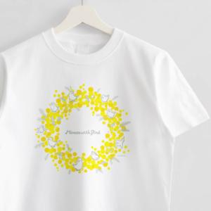 ミモザ ことり お花イラストTシャツ