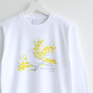 ミモザとカナリアのデザイン 長袖Tシャツ
