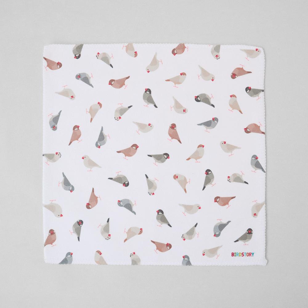 ハンドタオル 文鳥柄 ハンカチ