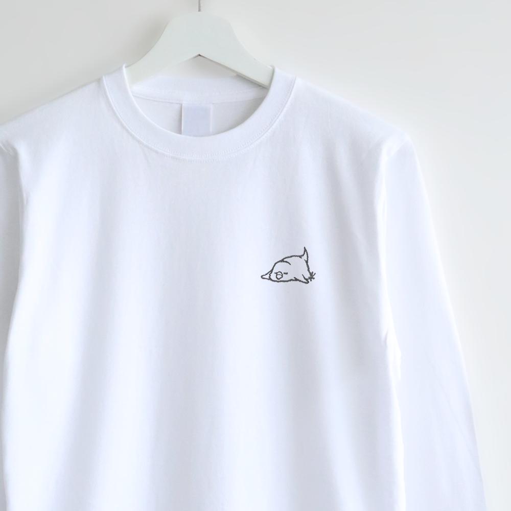 長袖刺繍Tシャツ(おひるね / セキセイインコ)