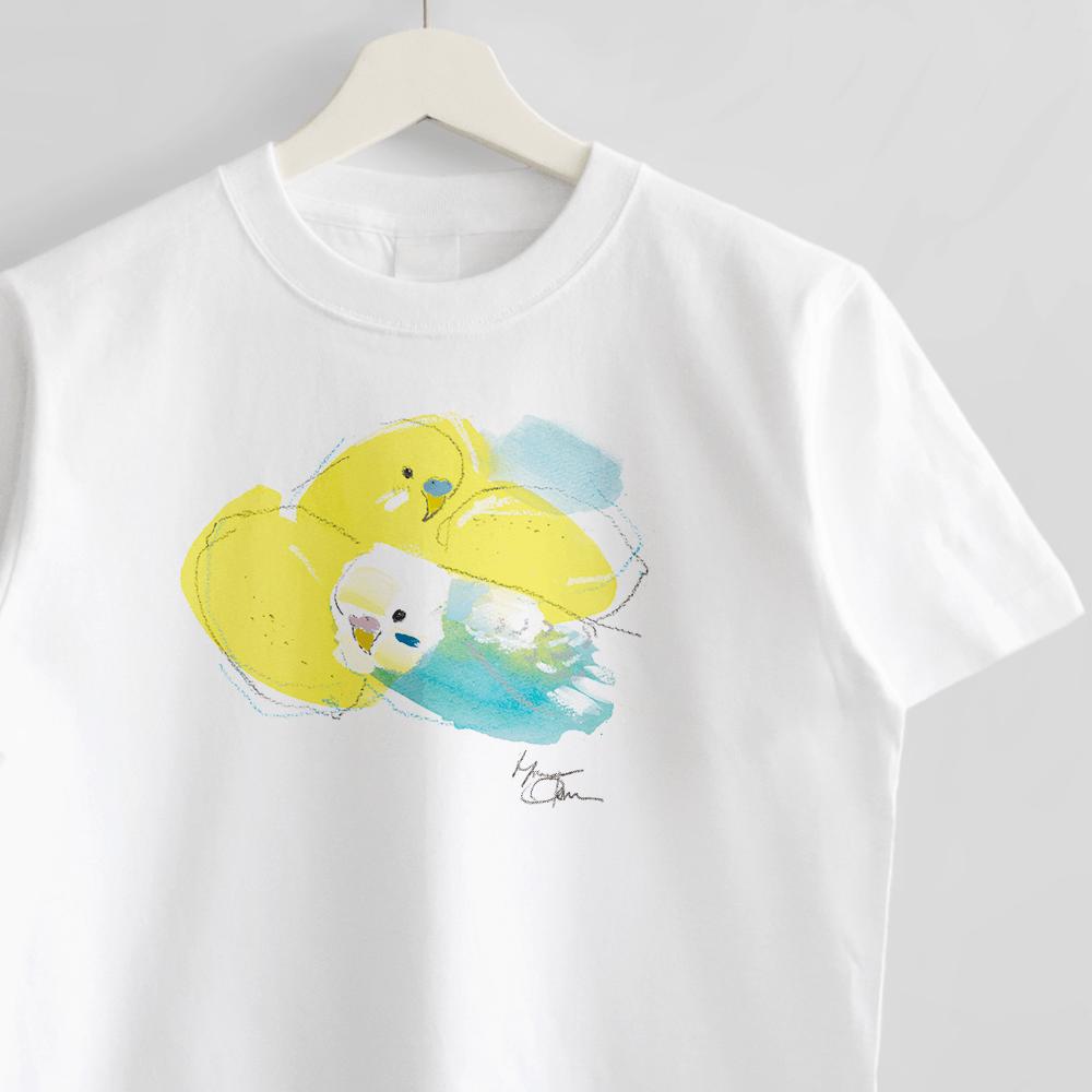 セキセイインコさんとレモン Tシャツ オクムラミチヨ