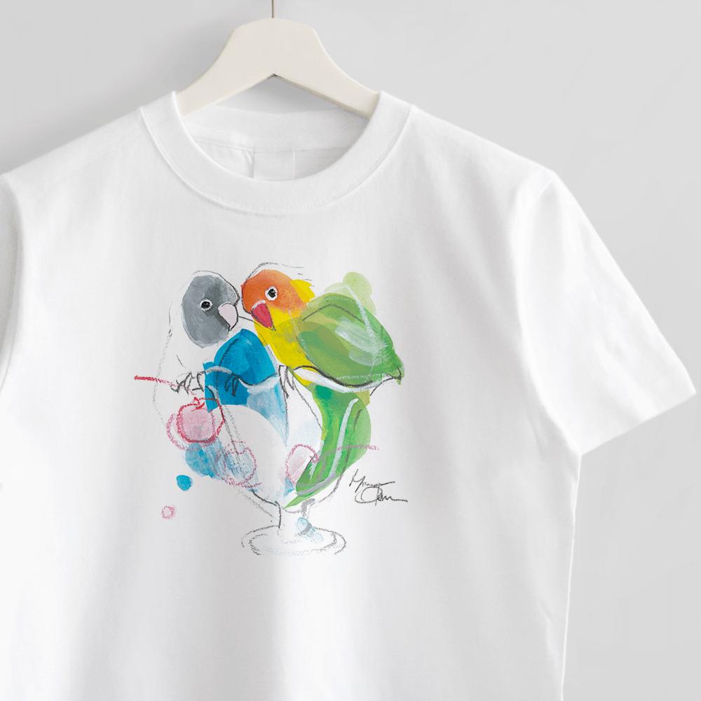 ボタンインコさんとパフェ Tシャツ オクムラミチヨ