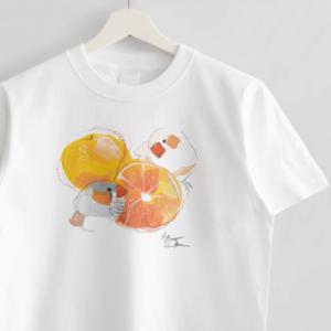 Tシャツ オクムラミチヨ キンカチョウさんとみかん