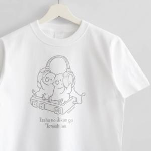 セキセイインコ ヘッドフォンイラストTシャツ