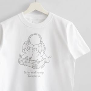 ヘッドホン文鳥イラスト Tシャツ