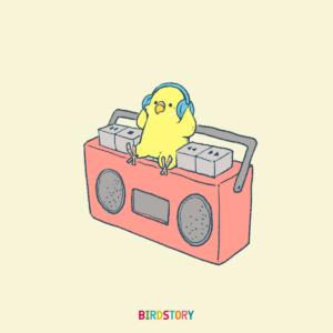 ミュージックの日 ラジカセとセキセイインコのイラスト