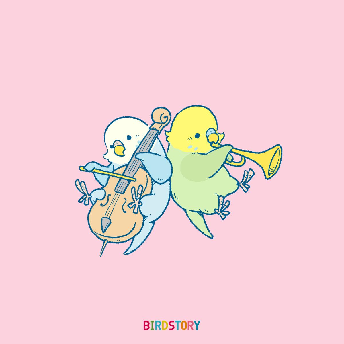 オーケストラの日 セキセイインコ 楽器音楽BIRDSTORY