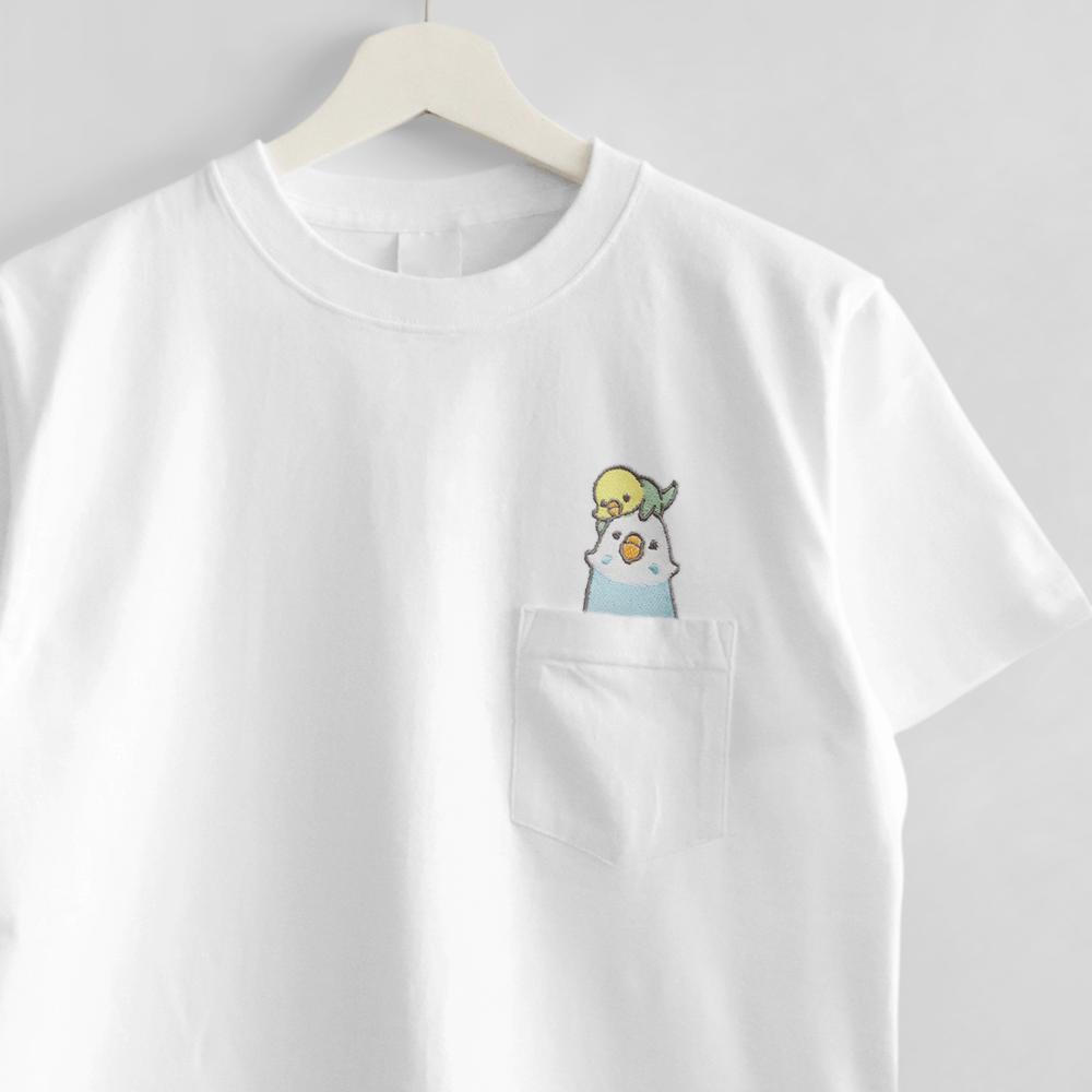 刺繍Tシャツ ポケット付き セキセイインコ
