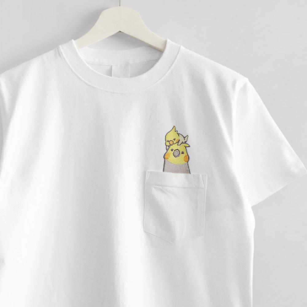 刺繍Tシャツ ポケット付き オカメインコ