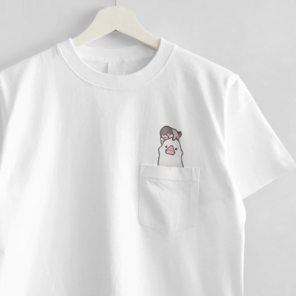 刺繍Tシャツ ポケット付き 文鳥