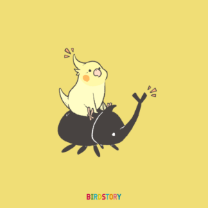 虫の日 カブトムシとオカメインコイラスト