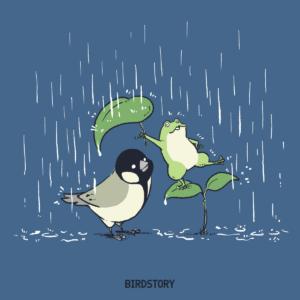 傘の日 カエルとシジュウカラのイラスト