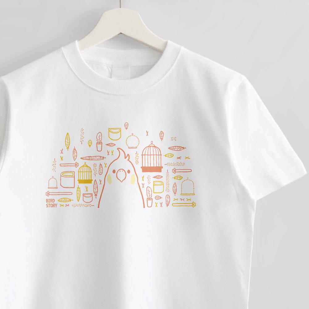 スマイルバード オカメインコさんと飼育グッズのデザインTシャツ