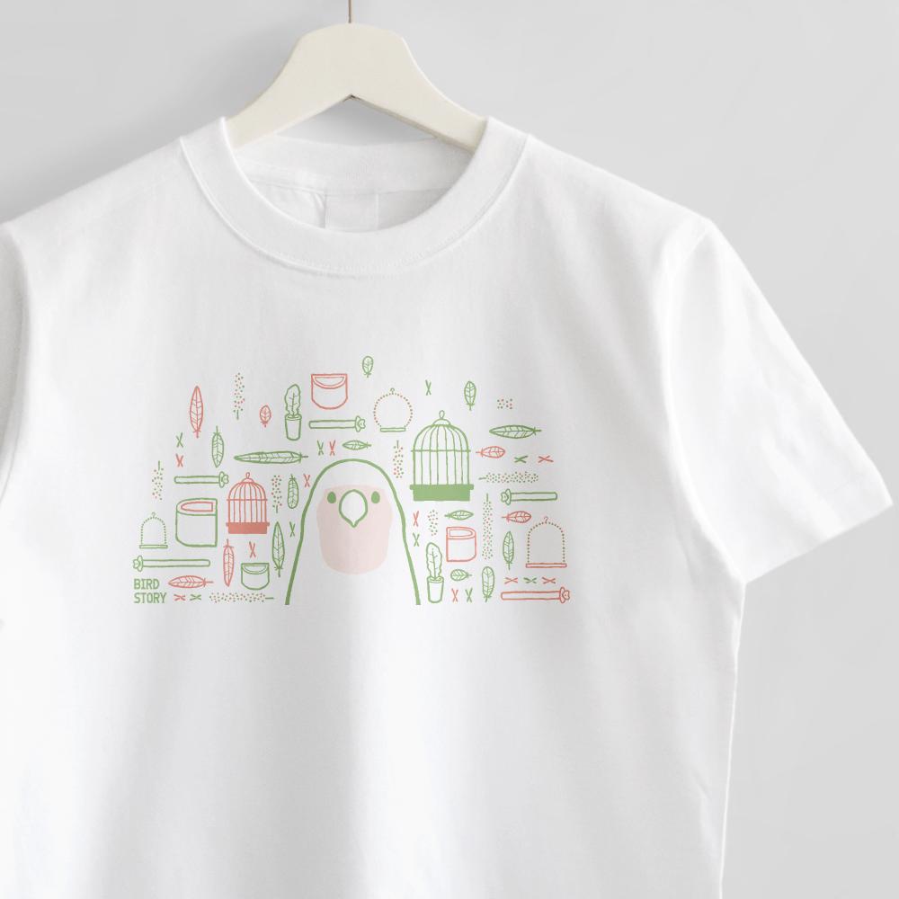 スマイルバード コザクラインコさんと飼育グッズのデザインTシャツ
