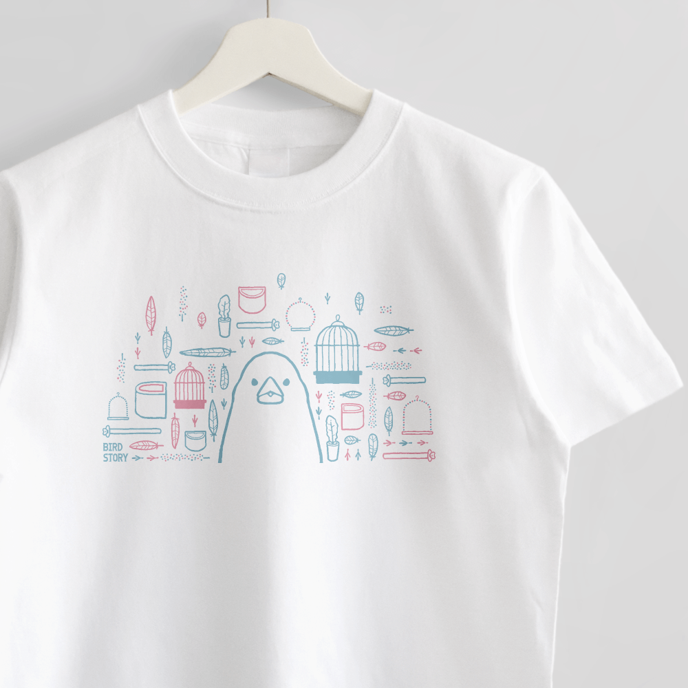 スマイルバード ブンチョウさんと飼育グッズのデザインTシャツ
