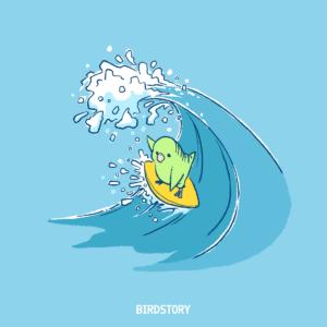 波の日 サーフィンするサザナミインコのイラスト