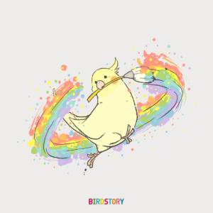 虹の日 オカメインコお絵描き