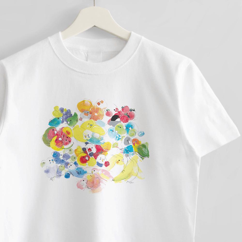 Tシャツ(オクムラミチヨ / 小鳥さんたちとカラフル・フルーツ&スイーツ)