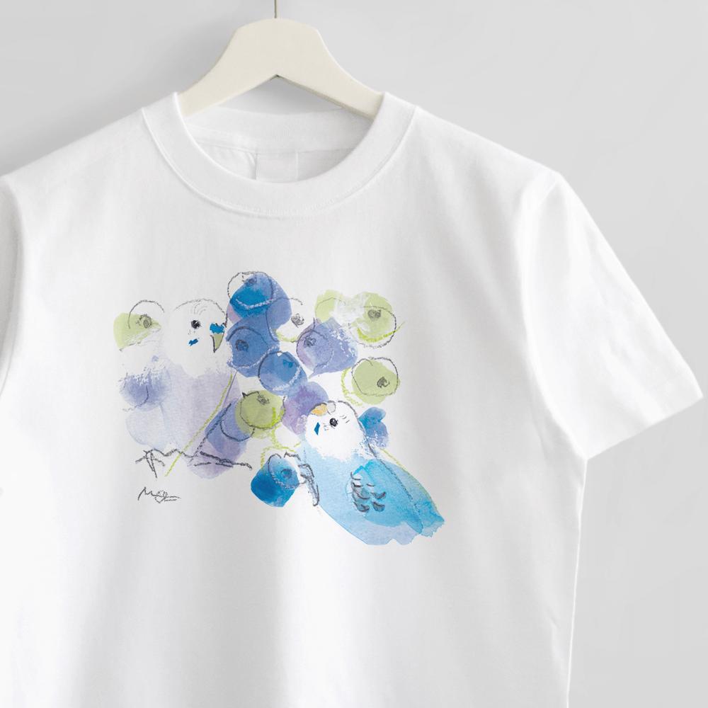 Tシャツ(オクムラミチヨ / セキセイインコさんとブルーベリー)