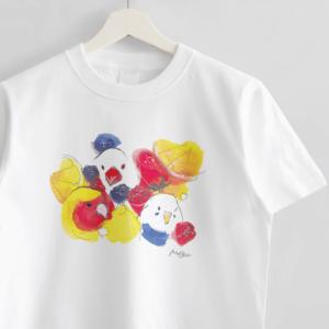 Tシャツ(オクムラミチヨ / たっぷりフルーツにまぎれる小鳥さんたち)