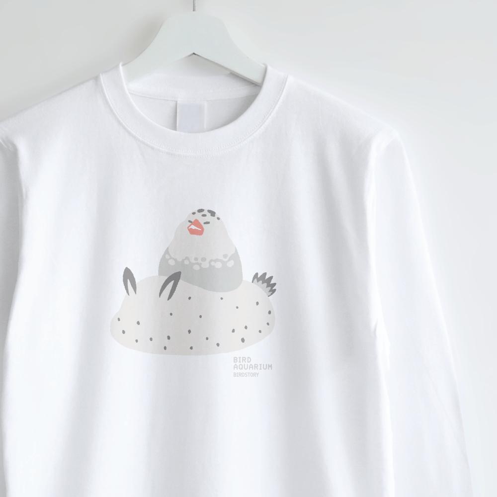 パイド文鳥&ゴマフビロードウミウシ デザインロンT