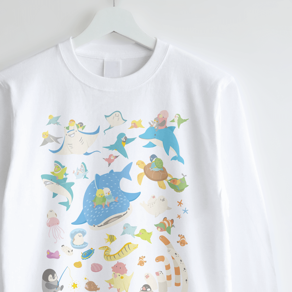 長袖Tシャツデザイン BIRDAQUARIUM 鳥さん水族館