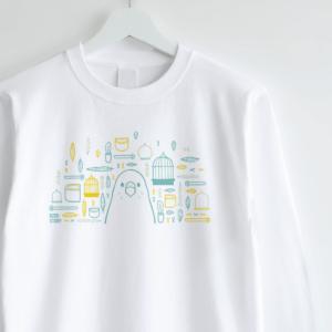 スマイルバード セキセイインコさんと飼育グッズのデザインロングTシャツ