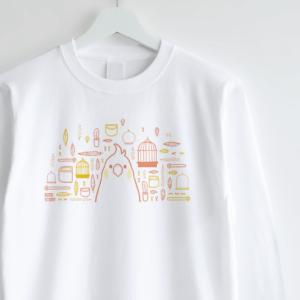 スマイルバード オカメインコさんと飼育グッズのデザイン長袖Tシャツ