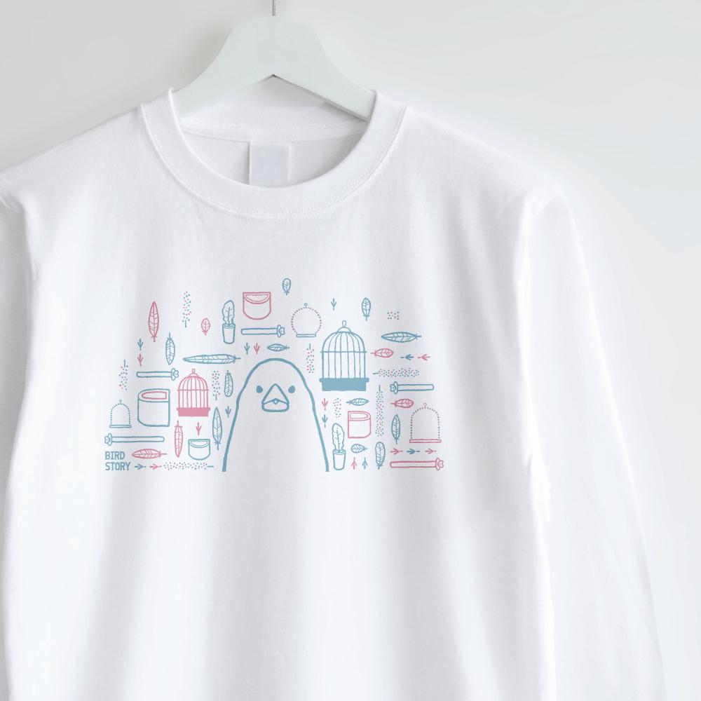 スマイルバード ブンチョウさんと飼育グッズのデザインロングTシャツ