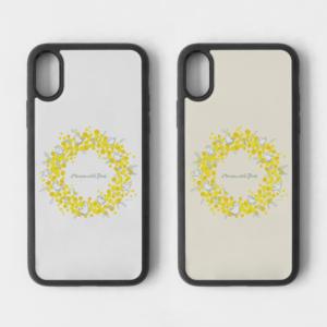 スマホケース ミモザとことりリース Mimosa