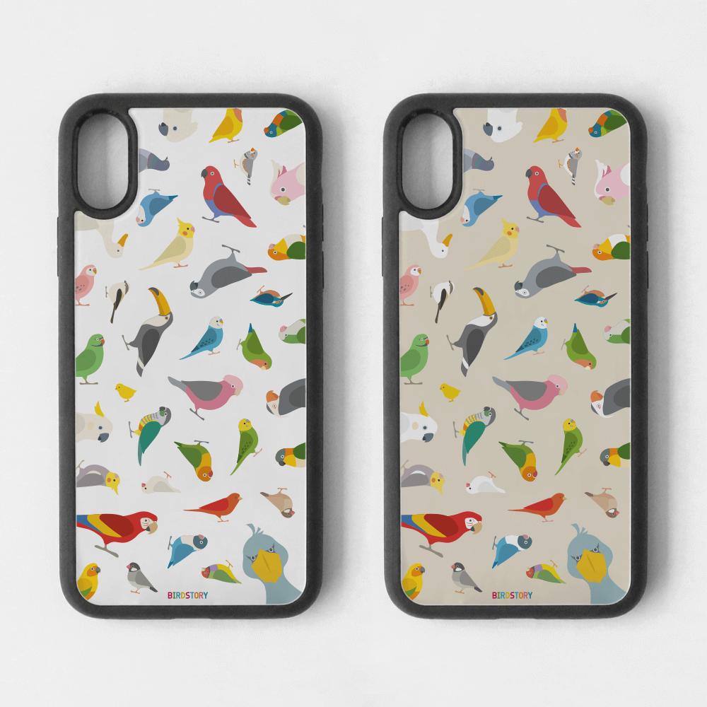 インコやオウムやフィンチ大集合の鳥さんスマートフォンケース