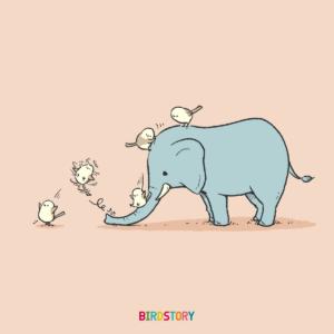 世界ゾウの日 すべりだいで遊ぶシマエナガ