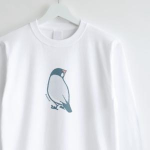 文鳥 長袖Tシャツ 後ろから見たブンチョウの背中