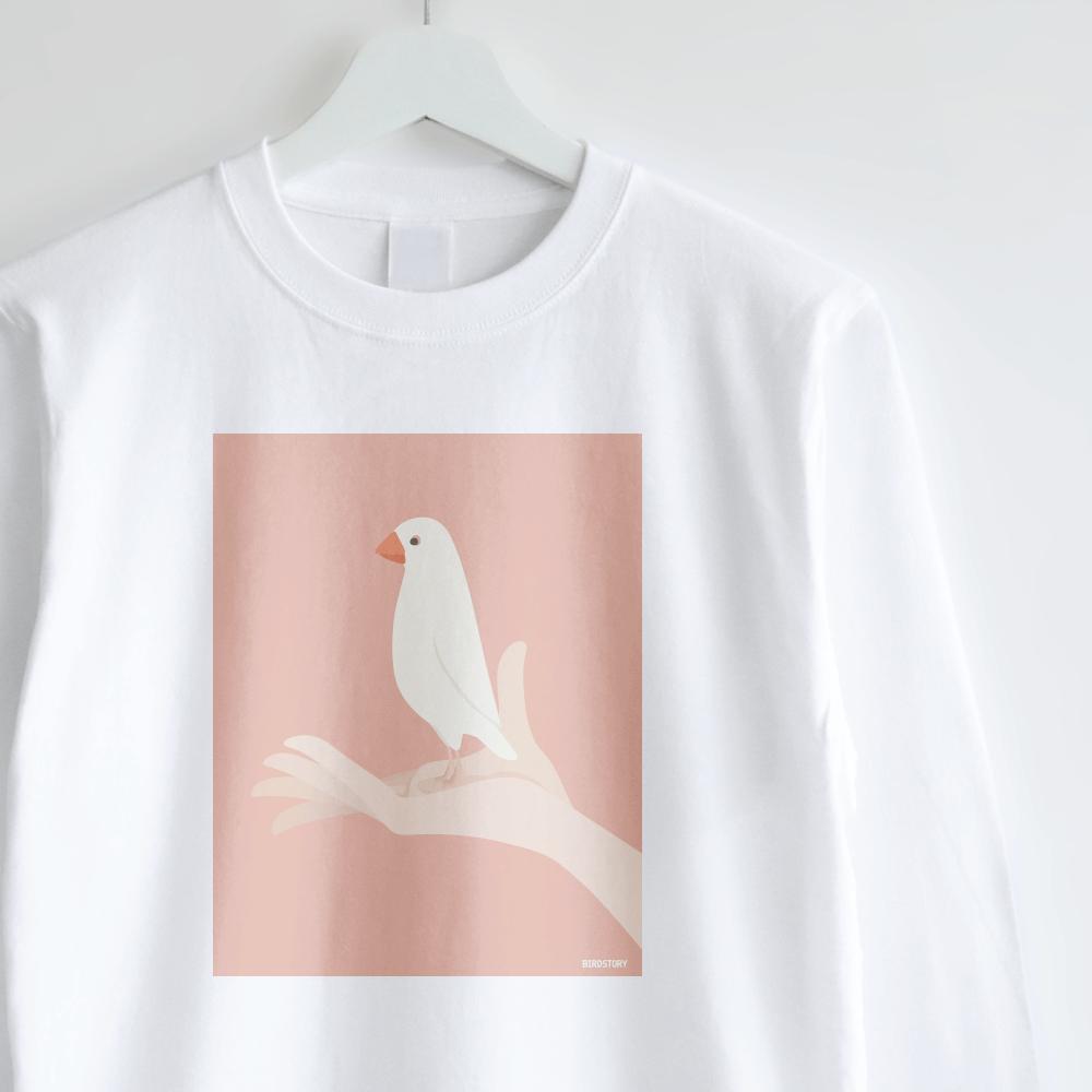 白文鳥 長袖Tシャツ 手タクシーTAXI