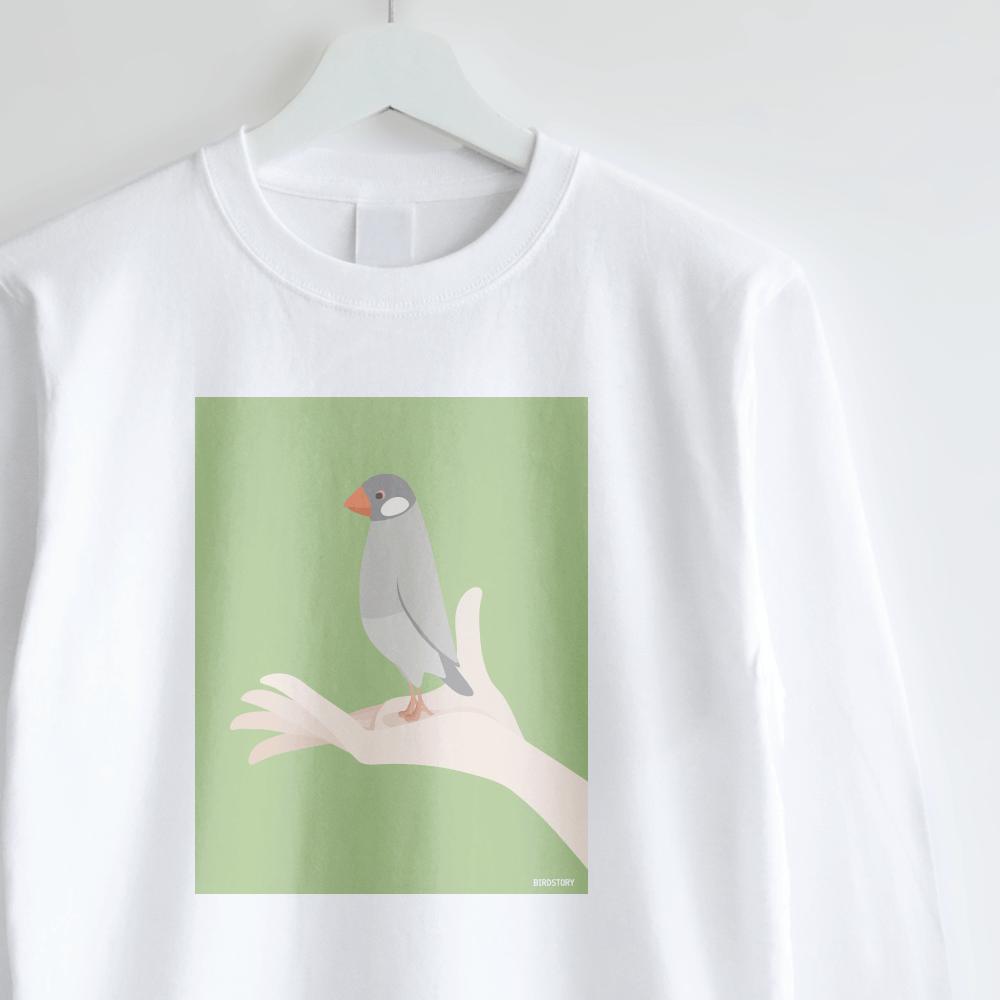 シルバー文鳥 長袖Tシャツ 手タクシーTAXI