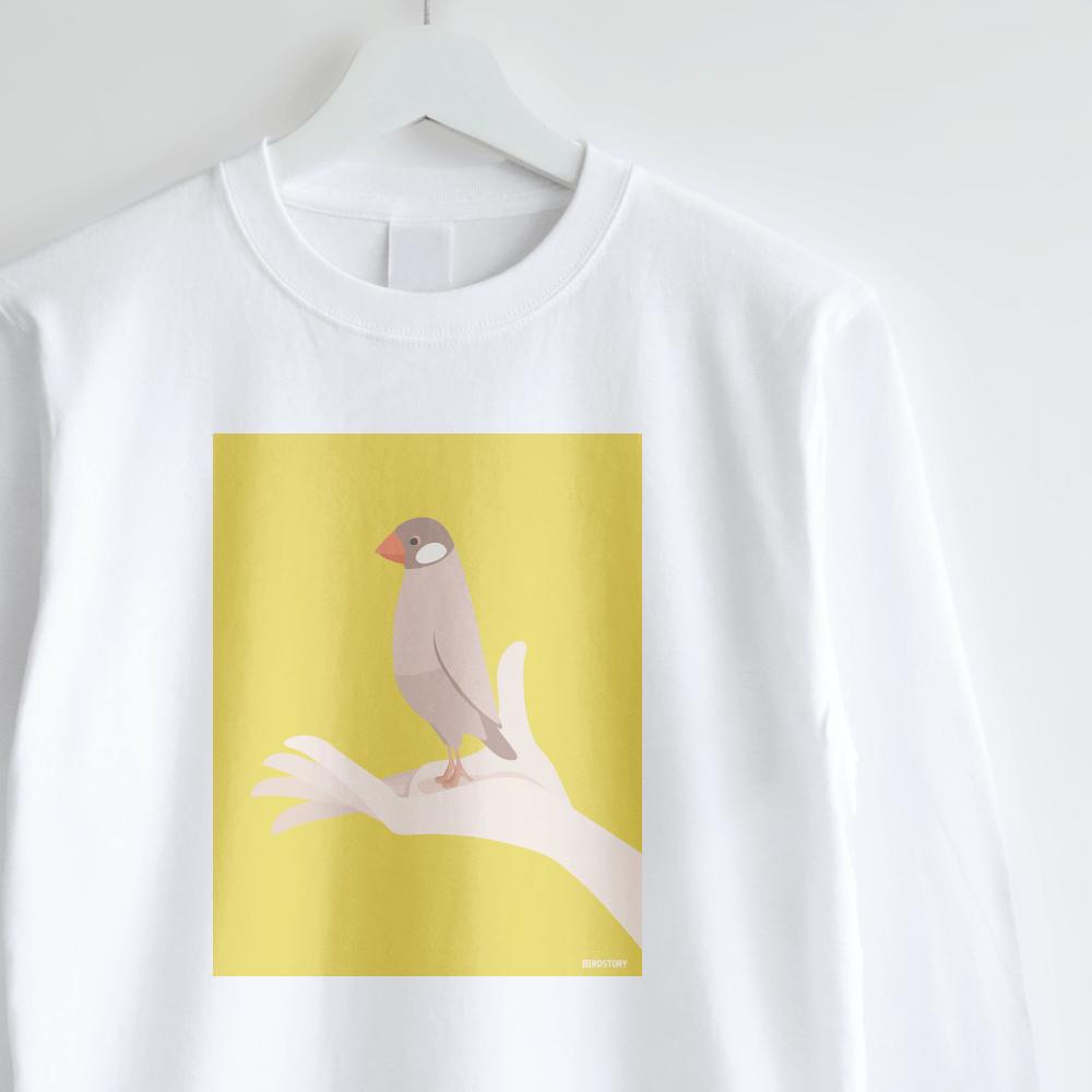 シナモン文鳥 長袖Tシャツ 手タクシーTAXI