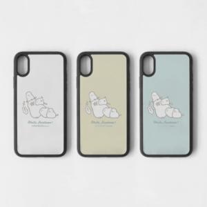 シマエナガのジャマエナガと文鳥デザイン スマートフォンケース
